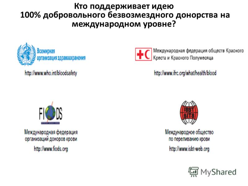 Кто поддерживает идею 100% добровольного безвозмездного донорства на международном уровне?
