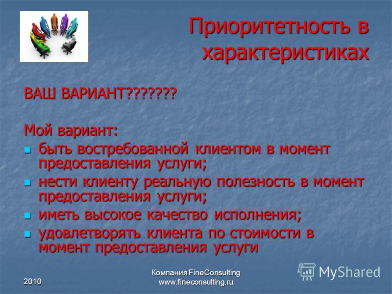 2010 Компания FineConsulting www.fineconsulting.ru Приоритетность в характеристиках ВАШ ВАРИАНТ??????? Мой вариант: быть востребованной клиентом в момент предоставления услуги; быть востребованной клиентом в момент предоставления услуги; нести клиент