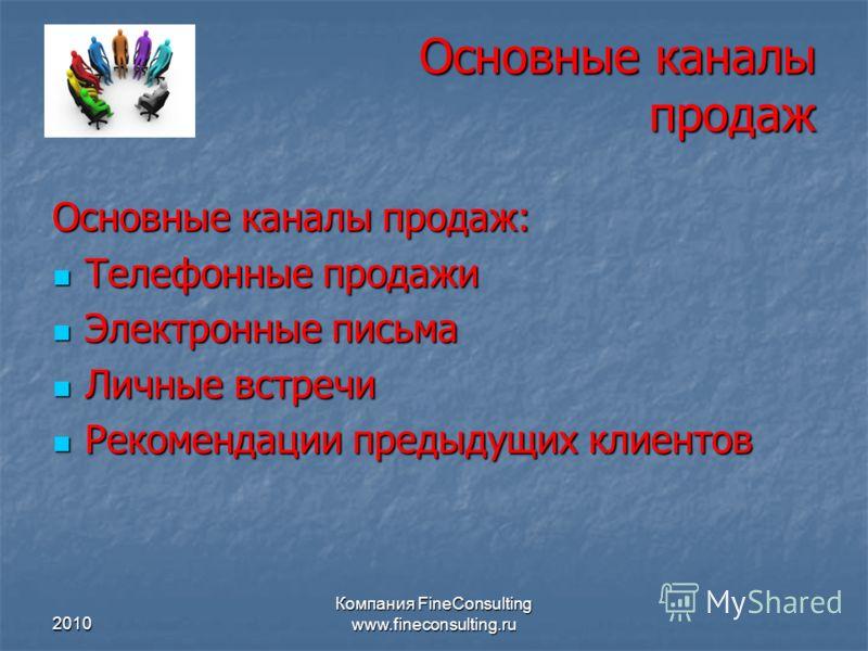 2010 Компания FineConsulting www.fineconsulting.ru Основные каналы продаж Основные каналы продаж: Телефонные продажи Телефонные продажи Электронные пи