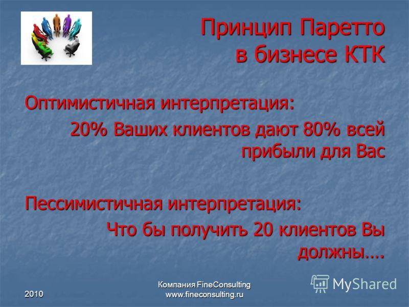 2010 Компания FineConsulting www.fineconsulting.ru Принцип Паретто в бизнесе КТК Оптимистичная интерпретация: 20% Ваших клиентов дают 80% всей прибыли
