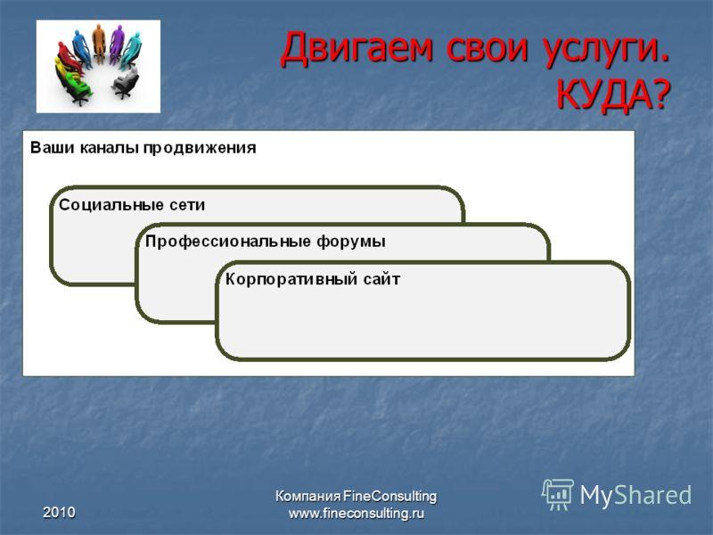2010 Компания FineConsulting www.fineconsulting.ru Двигаем свои услуги. КУДА?