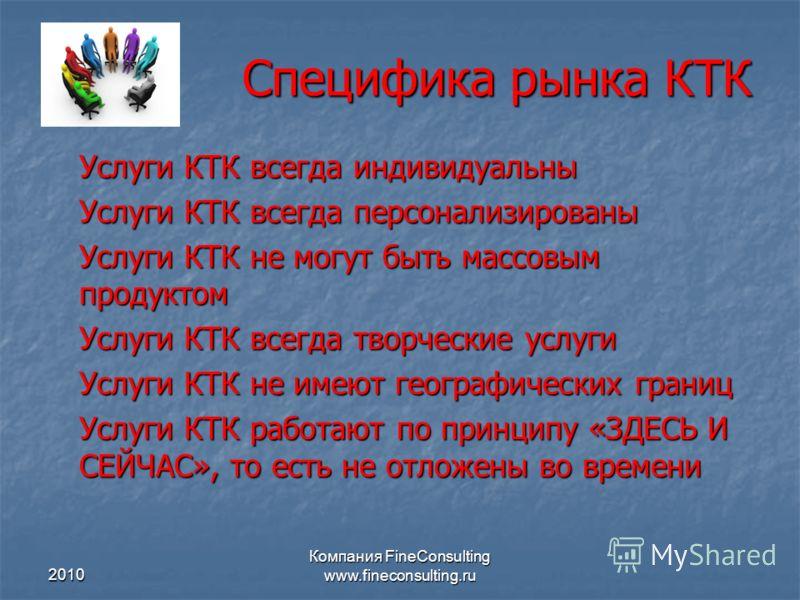 2010 Компания FineConsulting www.fineconsulting.ru Специфика рынка КТК Услуги КТК всегда индивидуальны Услуги КТК всегда персонализированы Услуги КТК не могут быть массовым продуктом Услуги КТК всегда творческие услуги Услуги КТК не имеют географичес