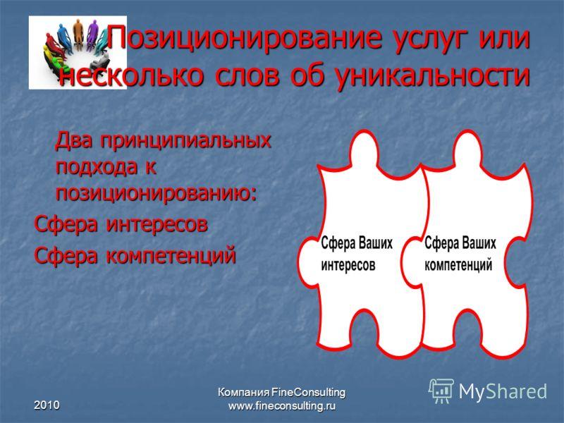 2010 Компания FineConsulting www.fineconsulting.ru Позиционирование услуг или несколько слов об уникальности Два принципиальных подхода к позициониров