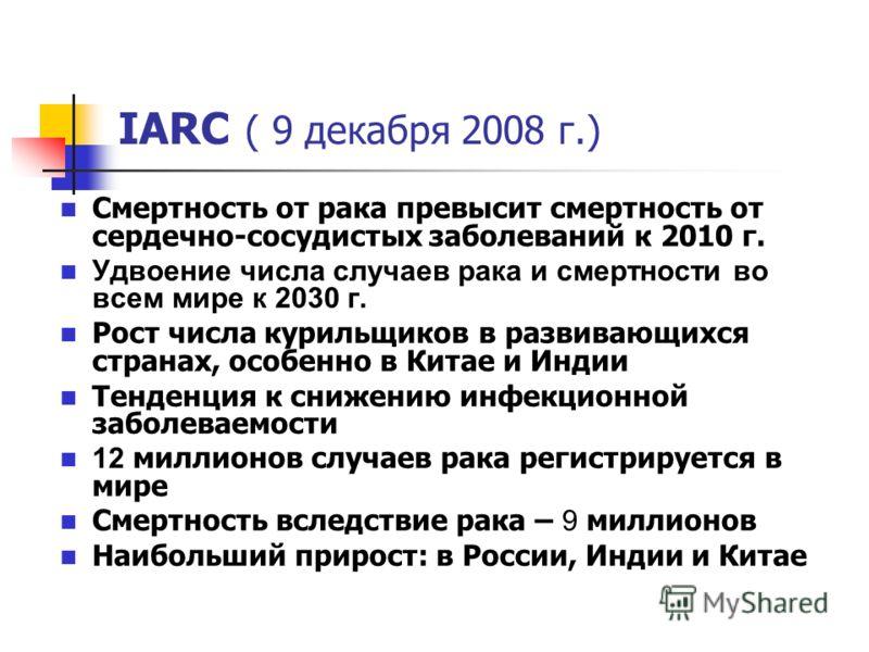 IARC ( 9 декабря 2008 г.) Смертность от рака превысит смертность от сердечно-сосудистых заболеваний к 2010 г. Удвоение числа случаев рака и смертности во всем мире к 2030 г. Рост числа курильщиков в развивающихся странах, особенно в Китае и Индии Тен