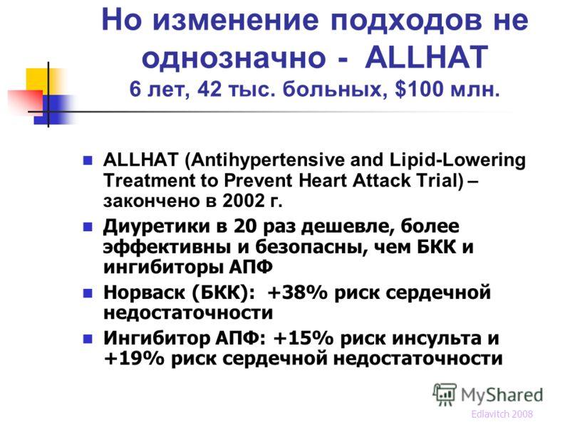 Но изменение подходов не однозначно - ALLHAT 6 лет, 42 тыс. больных, $100 млн. ALLHAT (Antihypertensive and Lipid-Lowering Treatment to Prevent Heart Attack Trial) – закончено в 2002 г. Диуретики в 20 раз дешевле, более эффективны и безопасны, чем БК
