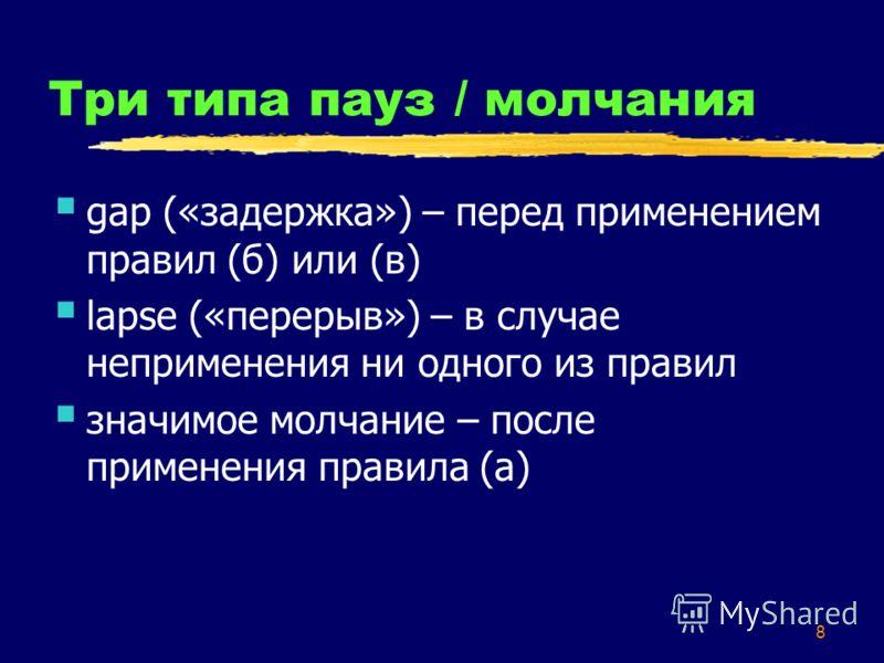 8 Три типа пауз / молчания gap («задержка») – перед применением правил (б) или (в) lapse («перерыв») – в случае неприменения ни одного из правил значимое молчание – после применения правила (а)