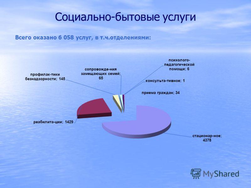 Социально-бытовые услуги Всего оказано 6 058 услуг, в т.ч.отделениями:
