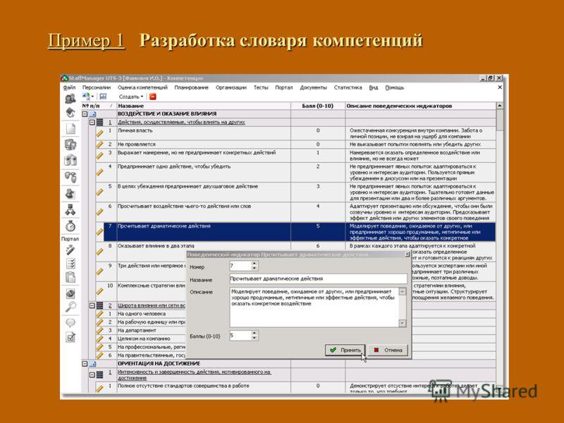 Пример 1 Разработка словаря компетенций