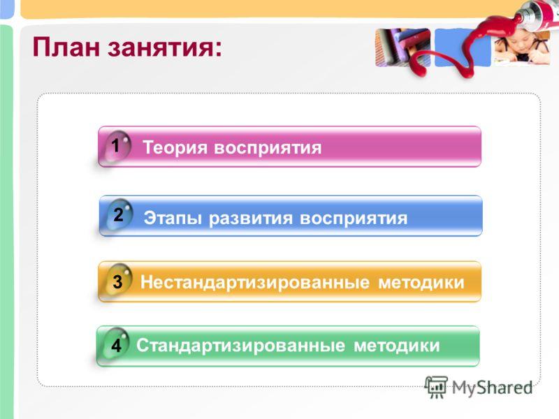 Теория восприятия Этапы развития восприятия Нестандартизированные методики Стандартизированные методики 4 1 2 3 План занятия: