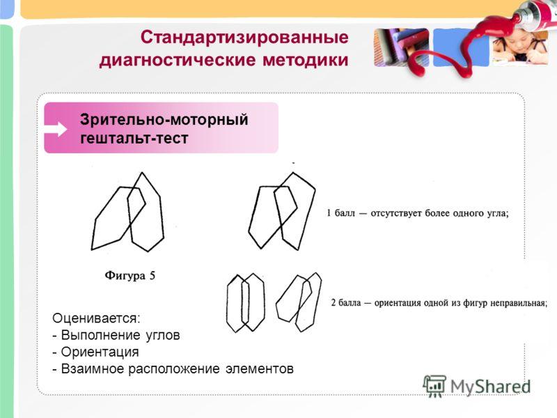 Стандартизированные диагностические методики Зрительно-моторный гештальт-тест Оценивается: - Выполнение углов - Ориентация - Взаимное расположение элементов