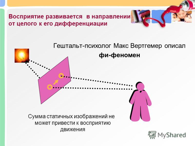 Восприятие развивается в направлении от целого к его дифференциации Гештальт-психолог Макс Вертгемер описал фи-феномен Сумма статичных изображений не может привести к восприятию движения