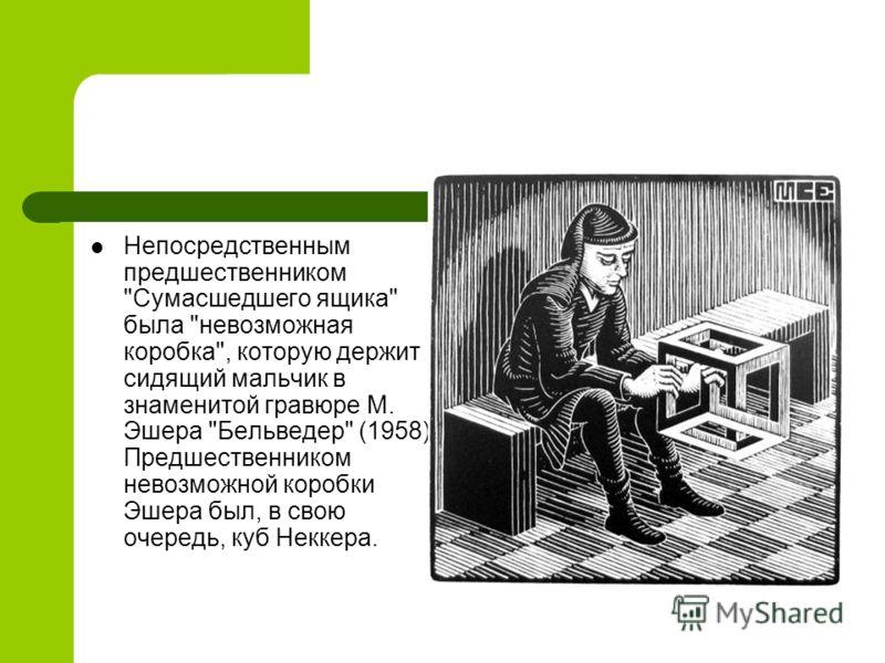 Непосредственным предшественником Сумасшедшего ящика была невозможная коробка, которую держит сидящий мальчик в знаменитой гравюре М. Эшера Бельведер (1958). Предшественником невозможной коробки Эшера был, в свою очередь, куб Неккера.