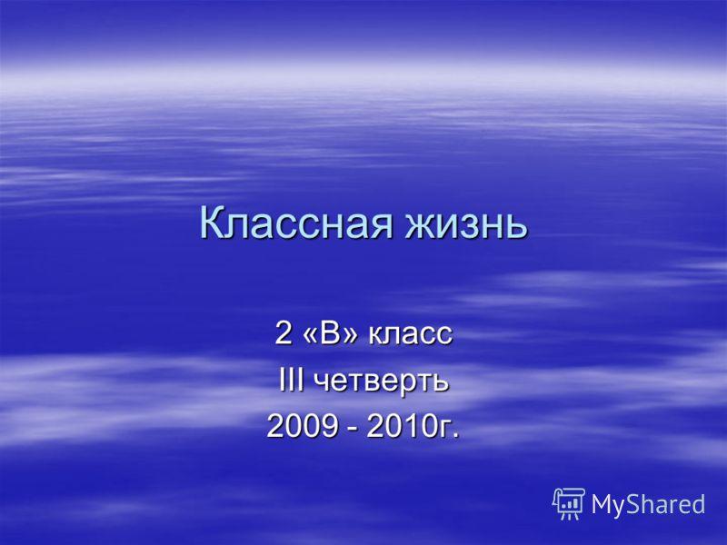 Классная жизнь 2 «В» класс III четверть 2009 - 2010г.