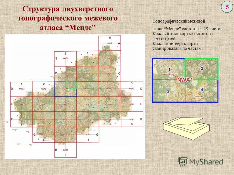 Структура двухверстного топографического межевого атласа Менде 5 Топографический межевой атлас Менде состоит из 29 листов. Каждый лист карты состоит из 4 четвертей. Каждая четверть карты сканировалась по частям.