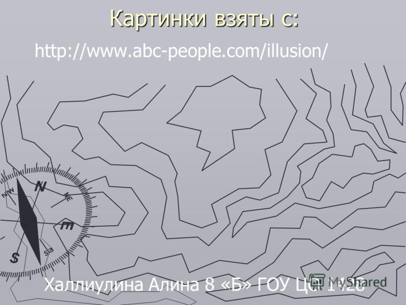 Картинки взяты с: http://www.abc-people.com/illusion/ Халлиулина Алина 8 «Б» ГОУ ЦО 1428