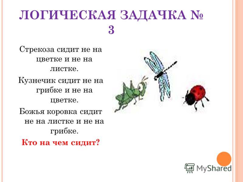 ЛОГИЧЕСКАЯ ЗАДАЧКА 3 Стрекоза сидит не на цветке и не на листке. Кузнечик сидит не на грибке и не на цветке. Божья коровка сидит не на листке и не на грибке. Кто на чем сидит?