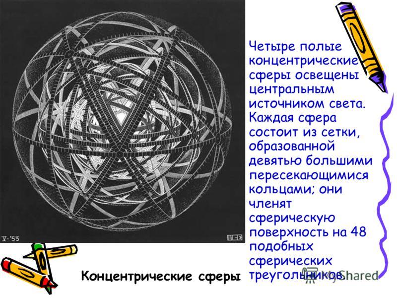 Концентрические сферы Четыре полые концентрические сферы освещены центральным источником света. Каждая сфера состоит из сетки, образованной девятью большими пересекающимися кольцами; они членят сферическую поверхность на 48 подобных сферических треуг