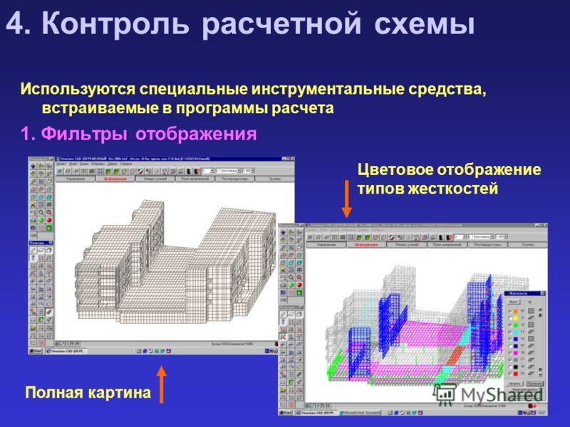 4. Контроль расчетной схемы Используются специальные инструментальные средства, встраиваемые в программы расчета 1. Фильтры отображения Полная картина Цветовое отображение типов жесткостей