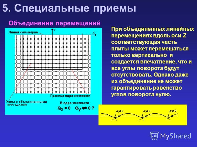 Объединение перемещений 5. Специальные приемы При объединенных линейных перемещениях вдоль оси Z соответствующая часть плиты может перемещаться только вертикально и создается впечатление, что и все углы поворота будут отсутствовать. Однако даже их об