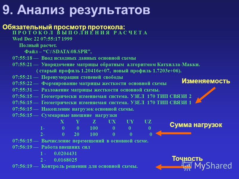 П Р О Т О К О Л В Ы П О Л Н Е Н И Я Р А С Ч Е Т А Wed Dec 22 07:55:17 1999 Полный pасчет. Файл – C:\SDATA\08.SPR, 07:55:18 Ввод исходных данных основной схемы 07:55:21 Упорядочение матрицы обратным алгоритмом Катхилла-Макки. ( старый профиль 1.20416e
