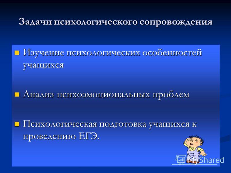 Задачи психологического сопровождения Изучение психологических особенностей учащихся Изучение психологических особенностей учащихся Анализ психоэмоциональных проблем Анализ психоэмоциональных проблем Психологическая подготовка учащихся к проведению Е