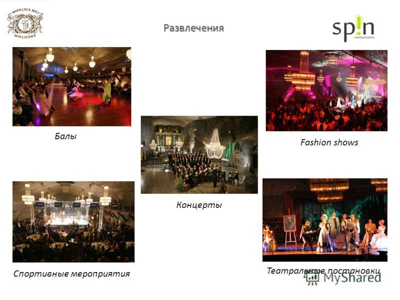 Развлечения Балы Fashion shows Спортивные мероприятия Концерты Театральные постановки