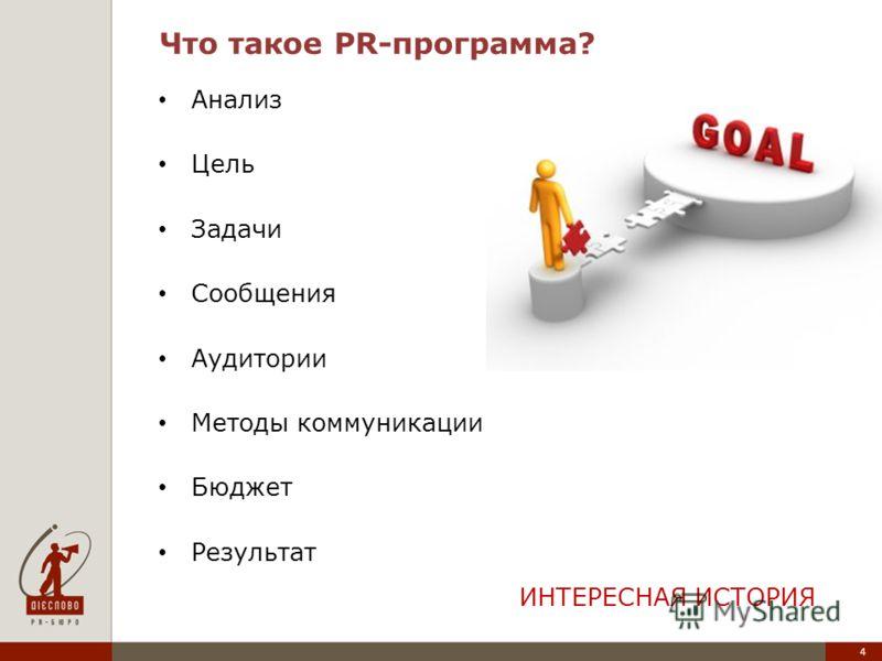 4 Что такое PR-программа? Анализ Цель Задачи Сообщения Аудитории Методы коммуникации Бюджет Результат ИНТЕРЕСНАЯ ИСТОРИЯ