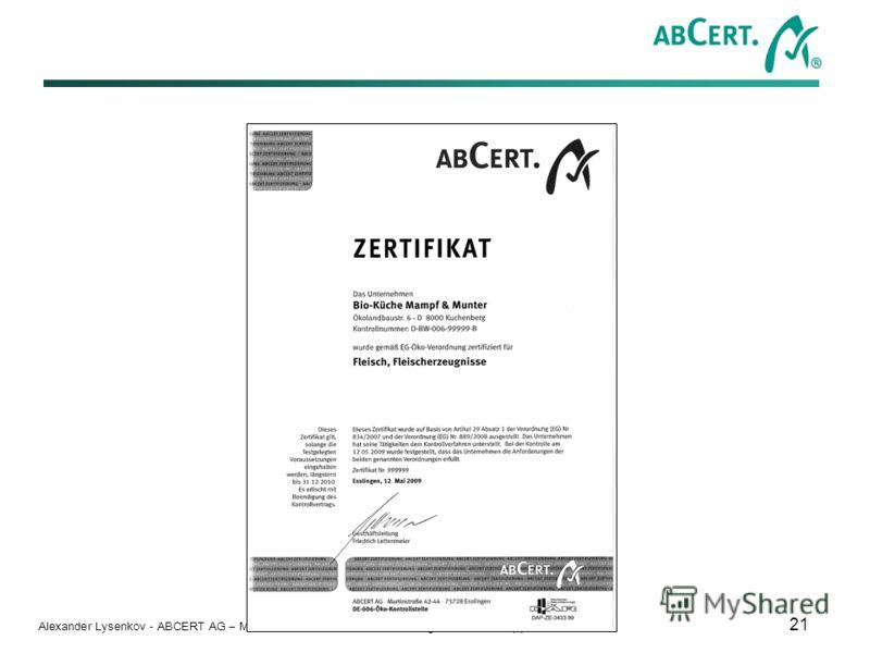 Alexander Lysenkov - ABCERT AG – Martinstr. 42-44 – D - 73728 Esslingen – Tel. +49 (0)711/35 17 92-0 21