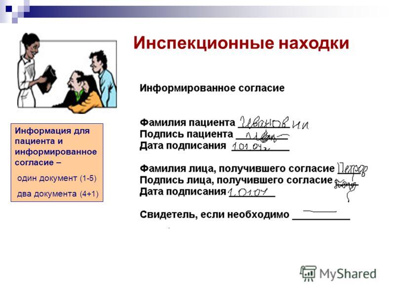 Инспекционные находки Информация для пациента и информированное согласие – один документ (1-5) два документа (4+1)