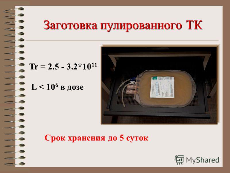 Заготовка пулированного ТК Tr = 2.5 - 3.2*10 11 L < 10 6 в дозе Срок хранения до 5 суток