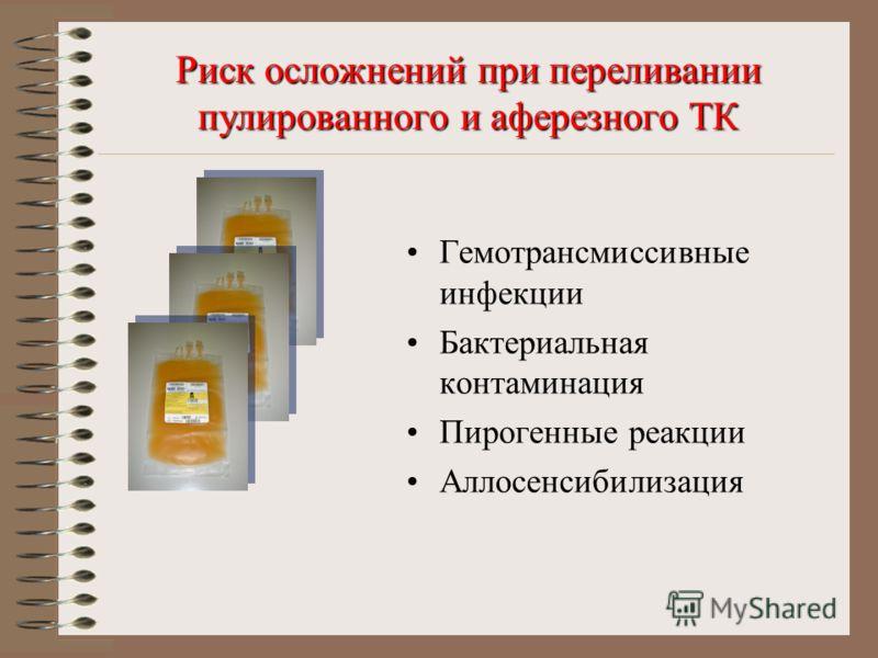 Риск осложнений при переливании пулированного и аферезного ТК Гемотрансмиссивные инфекции Бактериальная контаминация Пирогенные реакции Аллосенсибилизация