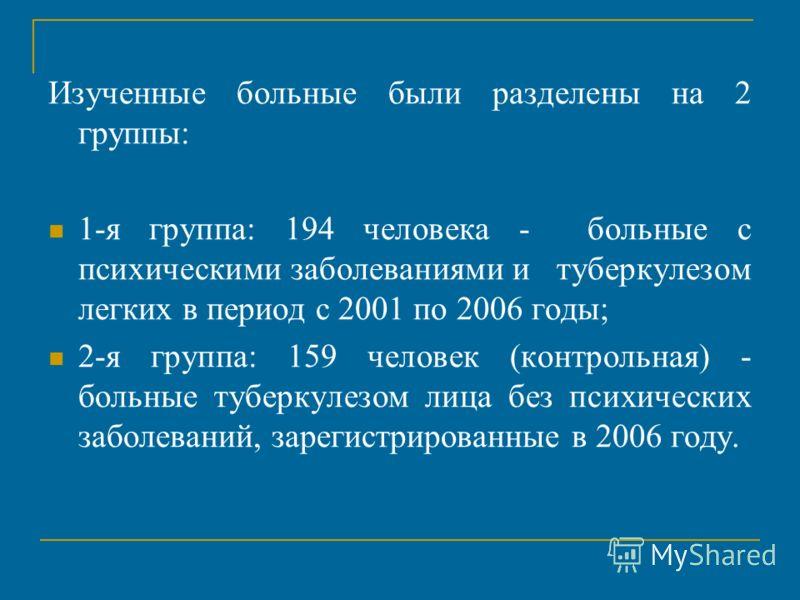 Изученные больные были разделены на 2 группы: 1-я группа: 194 человека - больные с психическими заболеваниями и туберкулезом легких в период с 2001 по 2006 годы; 2-я группа: 159 человек (контрольная) - больные туберкулезом лица без психических заболе