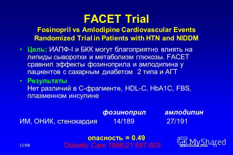 11/98medslides.com11 FACET Trial Fosinopril vs Amlodipine Cardiovascular Events Randomized Trial in Patients with HTN and NIDDM Цель: ИАПФ-I и БКК могут благоприятно влиять на липиды сыворотки и метаболизм глюкозы. FACET сравнил эффекты фозиноприла и