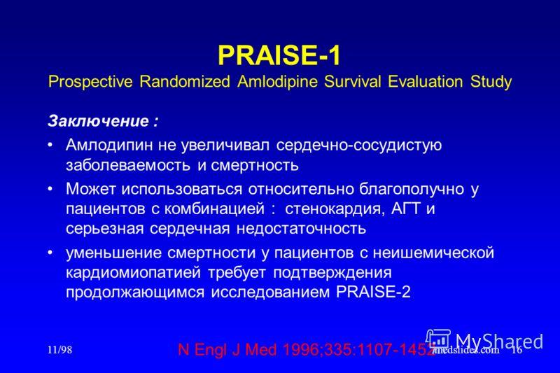 11/98medslides.com16 PRAISE-1 Prospective Randomized Amlodipine Survival Evaluation Study Заключение : Амлодипин не увеличивал сердечно-сосудистую заболеваемость и смертность Может использоваться относительно благополучно у пациентов с комбинацией :