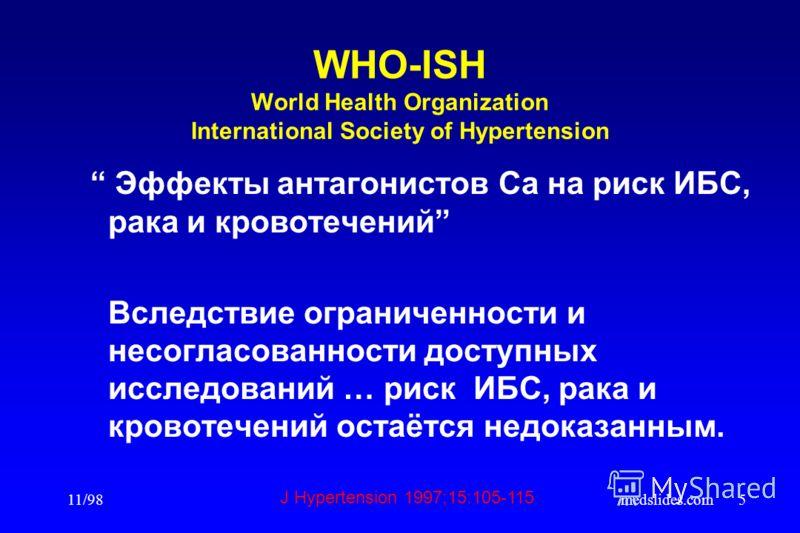 11/98medslides.com5 WHO-ISH World Health Organization International Society of Hypertension Эффекты антагонистов Са на риск ИБС, рака и кровотечений Вследствие ограниченности и несогласованности доступных исследований … риск ИБС, рака и кровотечений