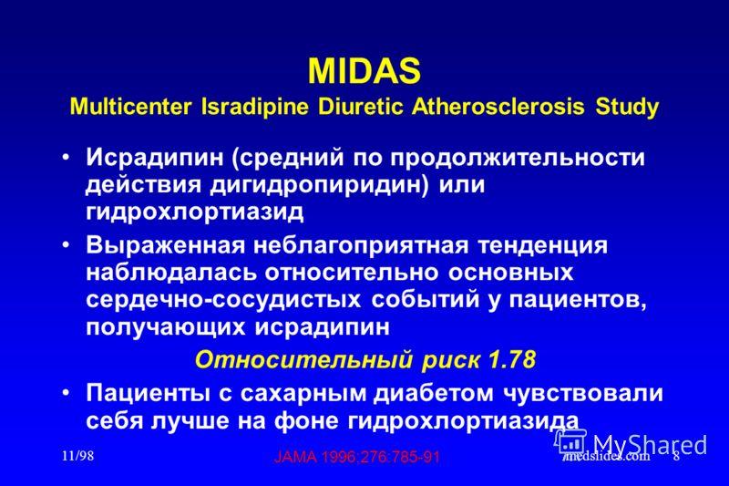 11/98medslides.com8 MIDAS Multicenter Isradipine Diuretic Atherosclerosis Study Исрадипин (средний по продолжительности действия дигидропиридин) или гидрохлортиазид Выраженная неблагоприятная тенденция наблюдалась относительно основных сердечно-сосуд