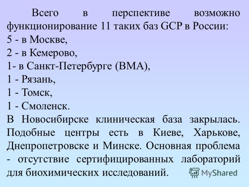 Всего в перспективе возможно функционирование 11 таких баз GCP в России: 5 - в Москве, 2 - в Кемерово, 1- в Санкт-Петербурге (ВМА), 1 - Рязань, 1 - Томск, 1 - Смоленск. В Новосибирске клиническая база закрылась. Подобные центры есть в Киеве, Харькове