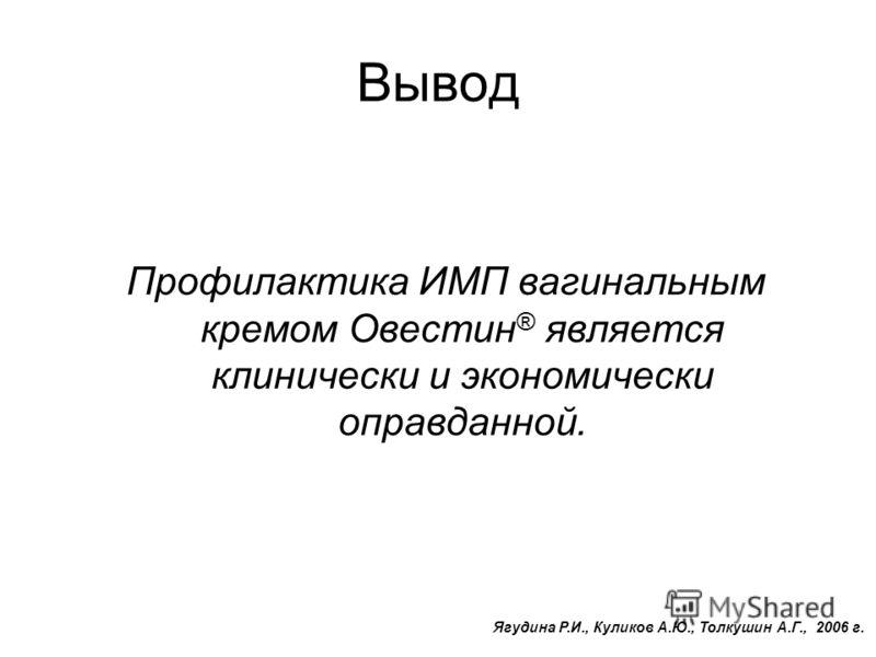 Вывод Профилактика ИМП вагинальным кремом Овестин ® является клинически и экономически оправданной. Ягудина Р.И., Куликов А.Ю., Толкушин А.Г., 2006 г.