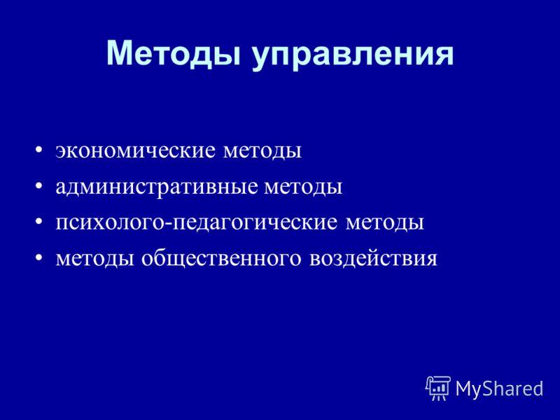 Методы управления экономические методы административные методы психолого-педагогические методы методы общественного воздействия