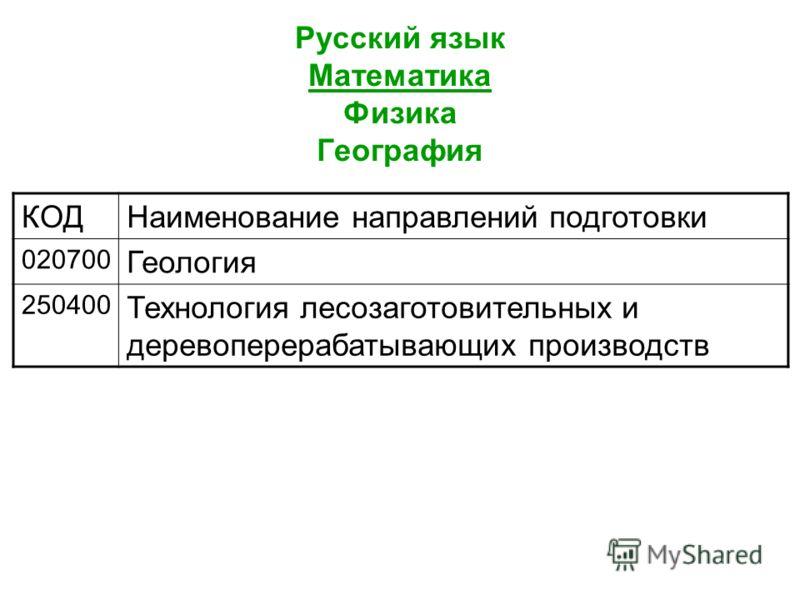 Русский язык Математика Физика География КОДНаименование направлений подготовки 020700 Геология 250400 Технология лесозаготовительных и деревоперерабатывающих производств