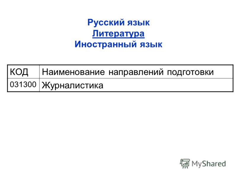 Русский язык Литература Иностранный язык КОДНаименование направлений подготовки 031300 Журналистика
