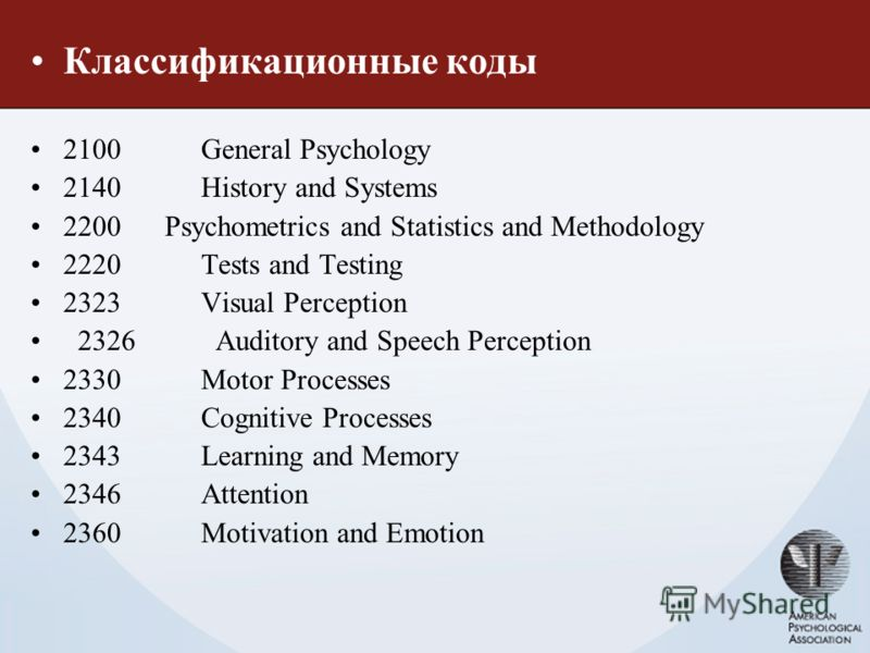 Классификационные коды 2100 General Psychology 2140 History and Systems 2200 Psychometrics and Statistics and Methodology 2220 Tests and Testing 2323 Visual Perception 2326 Auditory and Speech Perception 2330 Motor Processes 2340 Cognitive Processes