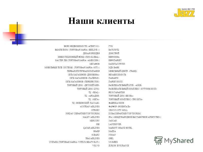 БЮРО НЕДВИЖИМОСТИ «АГЕНТ 002» ВЫМПЕЛКОМ (ТОРГОВАЯ МАРКА «BEELINE ») ДИКАЯ ОРХИДЕЯ ИНВИСТИЦИОННЫЙ ФОНД «ПИО-GLOBAL» МАСТЕР ЛЕК (ТОРГОВАЯ МАРКА «АМЕКСИН») МЕГАФОН МОБИЛЬНЫЕ ТЕЛЕ СИСТЕМЫ (ТОРГОВАЯ МАРКА «МТС») ПЕРВАЯ ИПОТЕЧНАЯ КОМПАНИЯ СЕТЬ МАГАЗИНОВ «Д