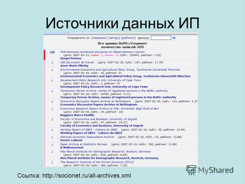 Источники данных ИП Ссылка: http://socionet.ru/all-archives.xml