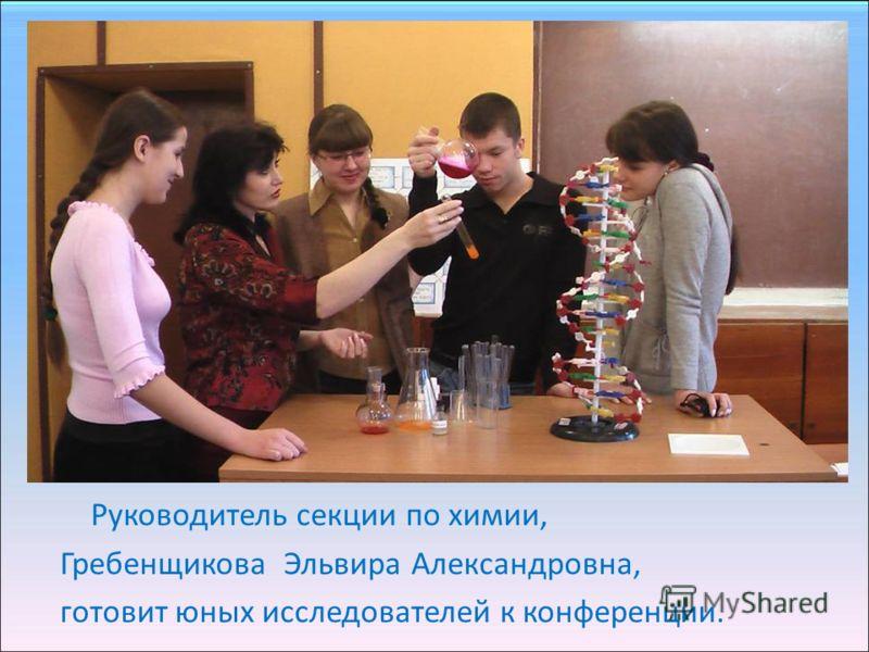 Руководитель секции по химии, Гребенщикова Эльвира Александровна, готовит юных исследователей к конференции.