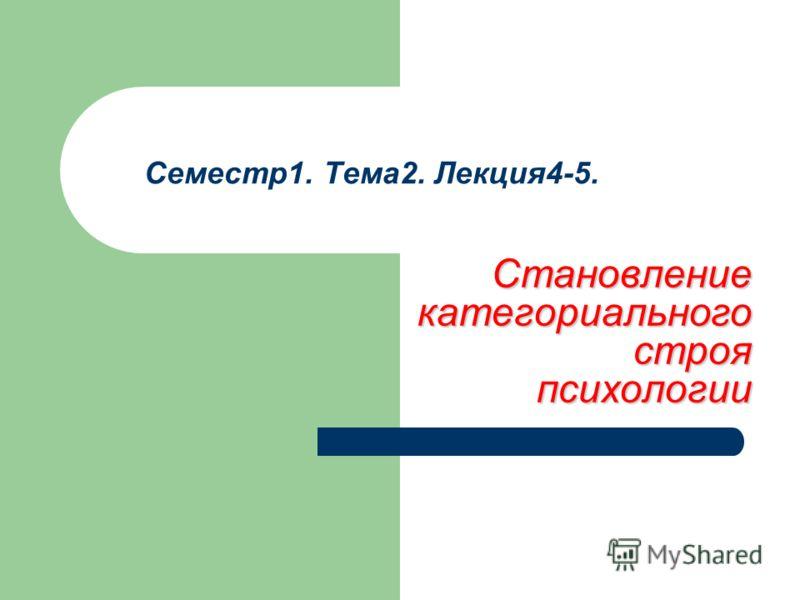 Семестр1. Тема2. Лекция4-5. Становление категориального строя психологии