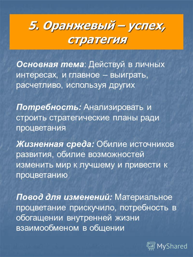 5. Оранжевый – успех, стратегия Основная тема: Действуй в личных интересах, и главное – выиграть, расчетливо, используя других Потребность: Анализировать и строить стратегические планы ради процветания Жизненная среда: Обилие источников развития, оби