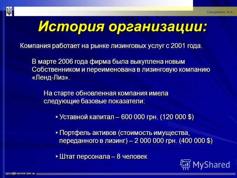 История организации: Igors@b-service.com.ua Сокуренко И.А. Компания работает на рынке лизинговых услуг с 2001 года. В марте 2006 года фирма была выкуплена новым Собственником и переименована в лизинговую компанию «Ленд-Лиз». На старте обновленная ком