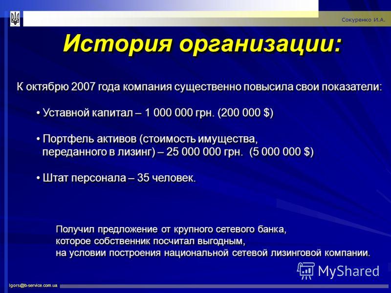 История организации: Igors@b-service.com.ua Сокуренко И.А. К октябрю 2007 года компания существенно повысила свои показатели: Уставной капитал – 1 000 000 грн. (200 000 $) Портфель активов (стоимость имущества, переданного в лизинг) – 25 000 000 грн.