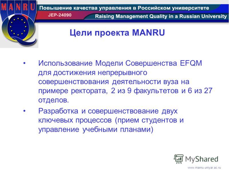 www.manru.uniyar.ac.ru Цели проекта MANRU Использование Модели Совершенства EFQM для достижения непрерывного совершенствования деятельности вуза на примере ректората, 2 из 9 факультетов и 6 из 27 отделов. Разработка и совершенствование двух ключевых